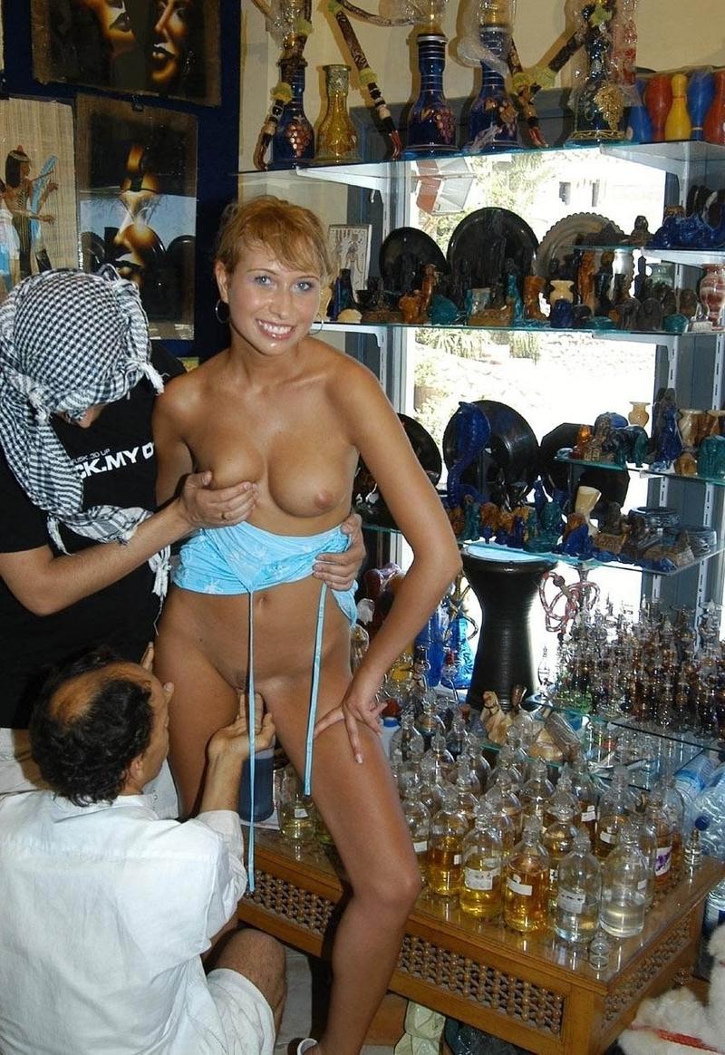 Nudist store clerk